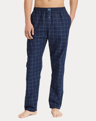 Windowpane Cotton Pajama Pant