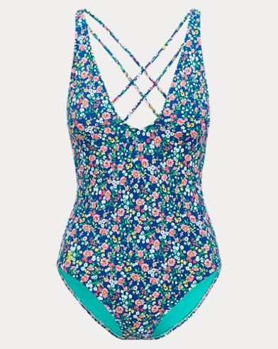 Floral V-Neck One-Piece Suit