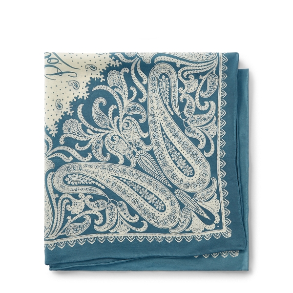 Ralph Lauren Silk Bandanna Anchor Blue/Cream One Size