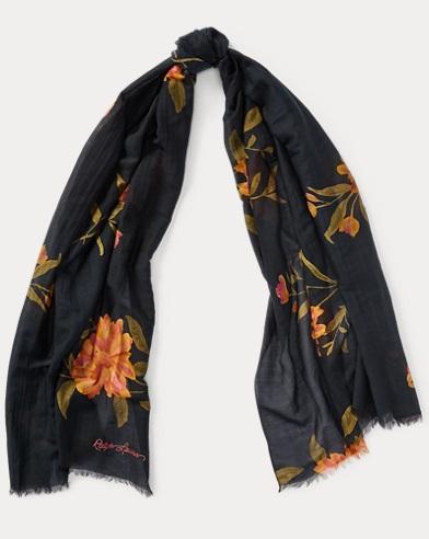 Floral Cotton-Silk-Blend Scarf