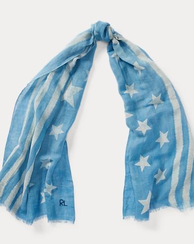 Indigo Flag Linen-Blend Scarf