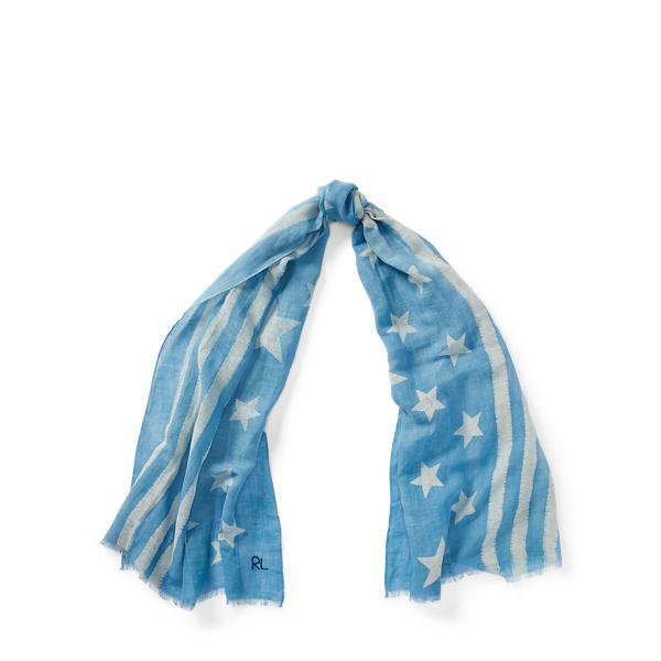 Ralph Lauren Indigo Flag Linen-Blend Scarf Blue One Size