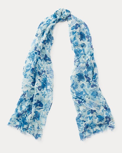 Butterfly-Floral-Print Scarf