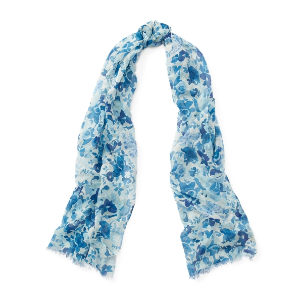 Ralph Lauren Butterfly-Floral-Print Scarf Blue Butterfly One Size