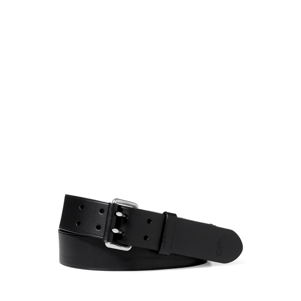 폴로 랄프로렌 Polo Ralph Lauren Double Prong Leather Belt,Black