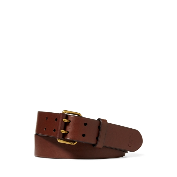 폴로 랄프로렌 Polo Ralph Lauren Double Prong Leather Belt,Dark Brown