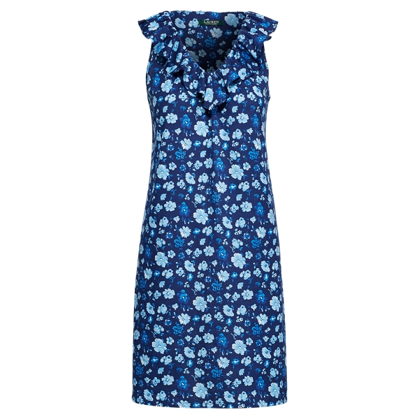 Ralph Lauren Floral Cotton Sleeveless Gown Bluefl M