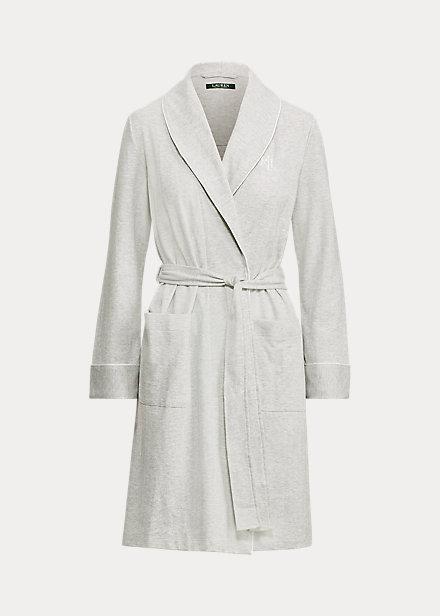 Lauren Ralph Lauren Hartford Lounge Shawl Collar Knit Robe In Grey Heather