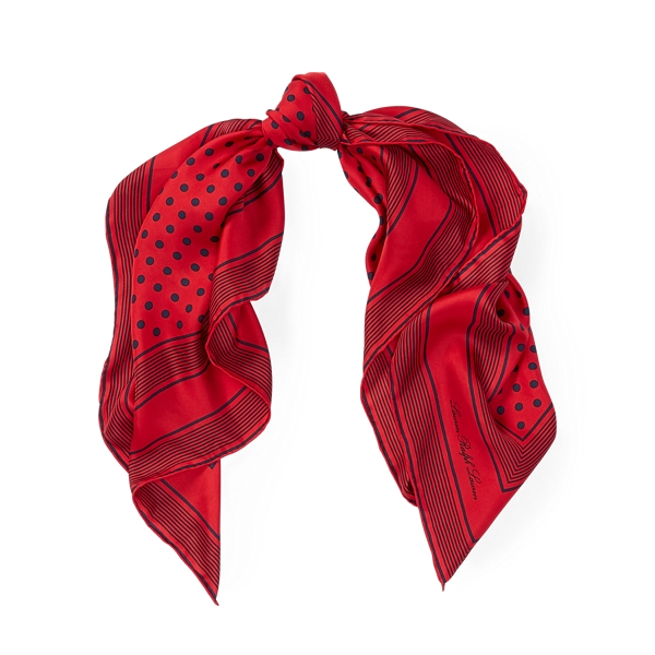 Ralph Lauren Dot Silk Scarf Red One Size