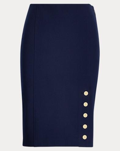 Button-Trim Twill Pencil Skirt