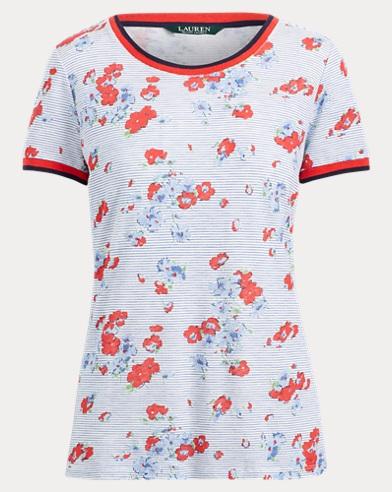 Floral Linen-Blend T-Shirt