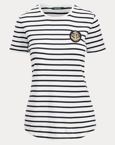 Gestreiftes T-Shirt mit Kantillen-Aufnäher
