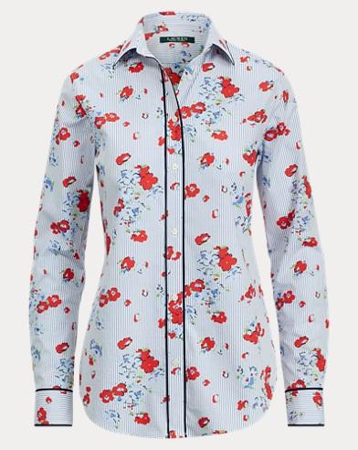Camicia in cotone motivo a fiori