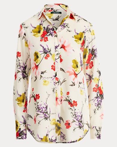 Camicia in twill a fiori