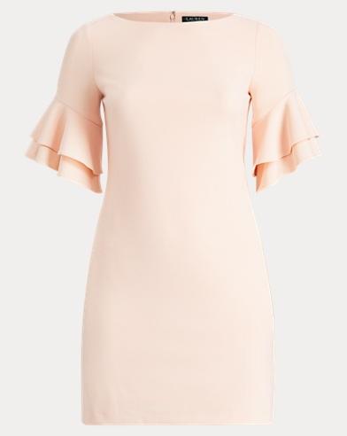 Crepe Ruffled-Sleeve Dress