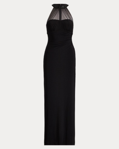 Mesh-Yoke Stretch Jersey Gown