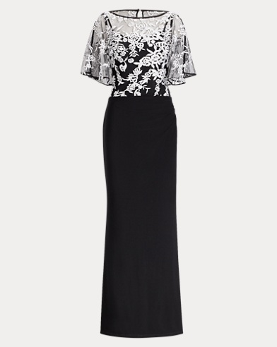 Floral-Overlay Jersey Gown