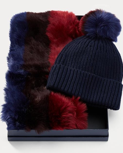 1b03b20a141e0 Faux-Fur Hat   Scarf Gift Set