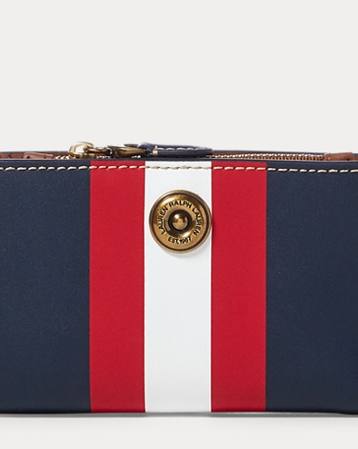 Striped Leather Compact Wallet