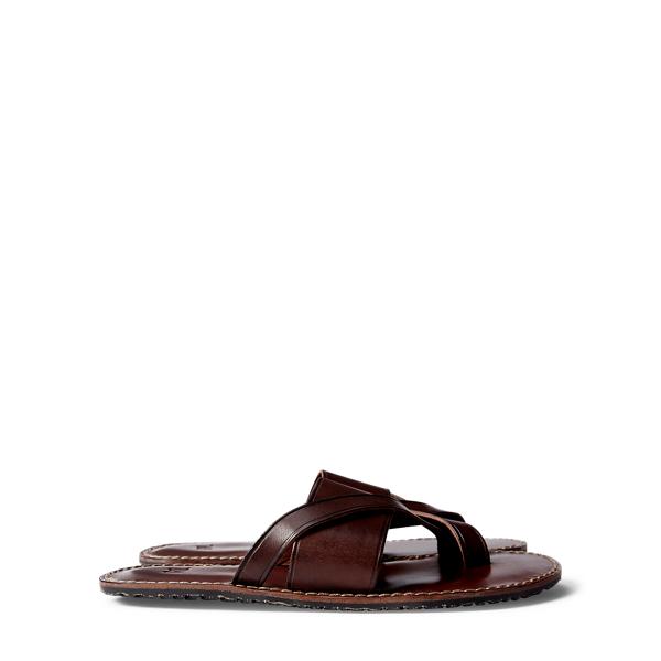 Ralph Lauren Leather Slide Sandal Dark Brown 8