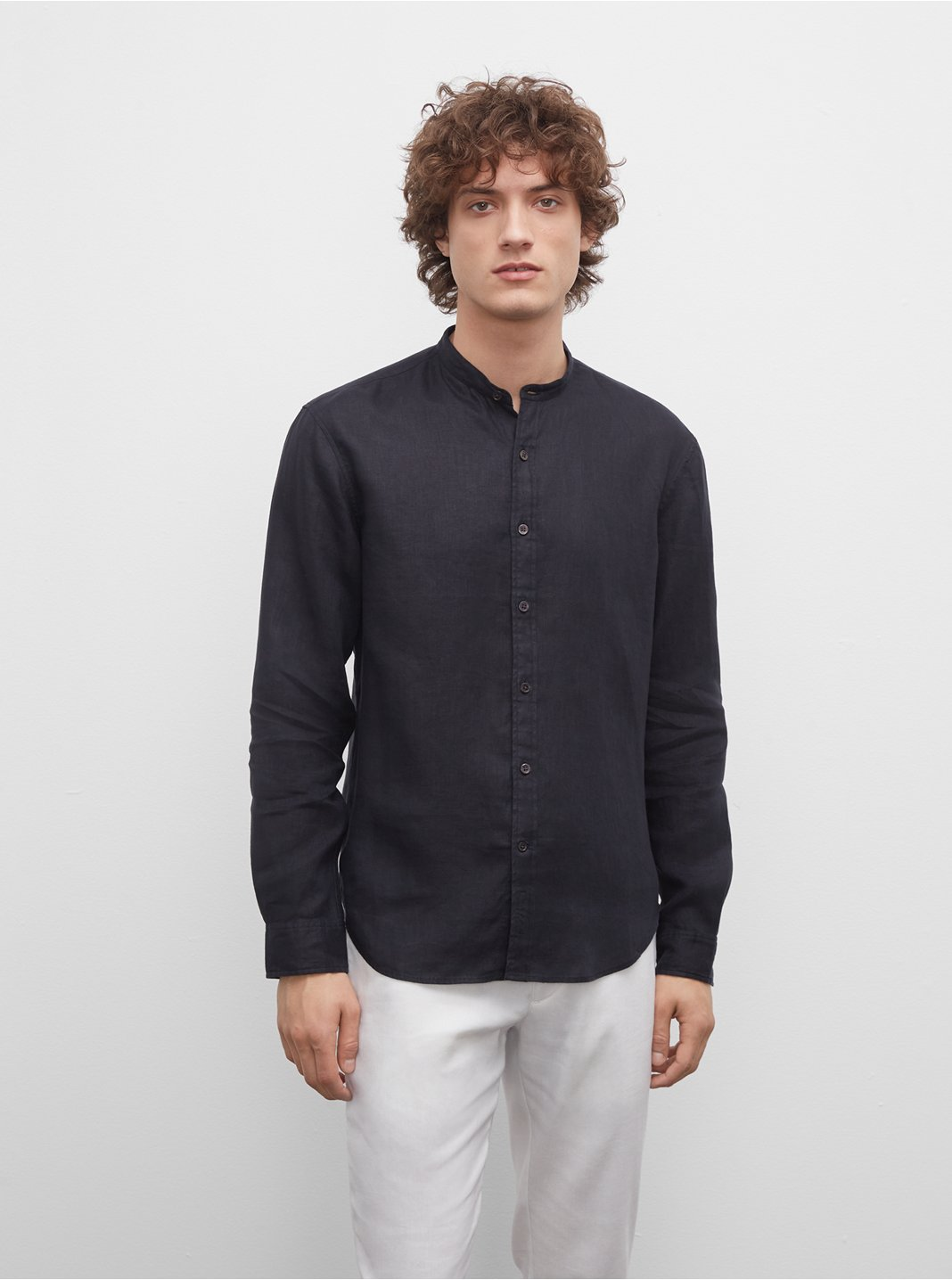 Slim Linen Band Collar Shirt