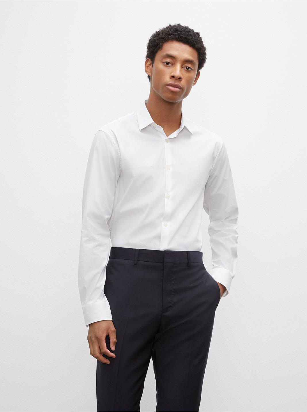 클럽 모나코 맨 드레스 셔츠 Club Monaco Stretch Poplin Dress Shirt,White