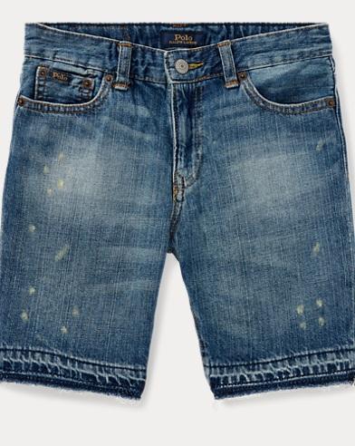 Distressed Cotton Denim Short