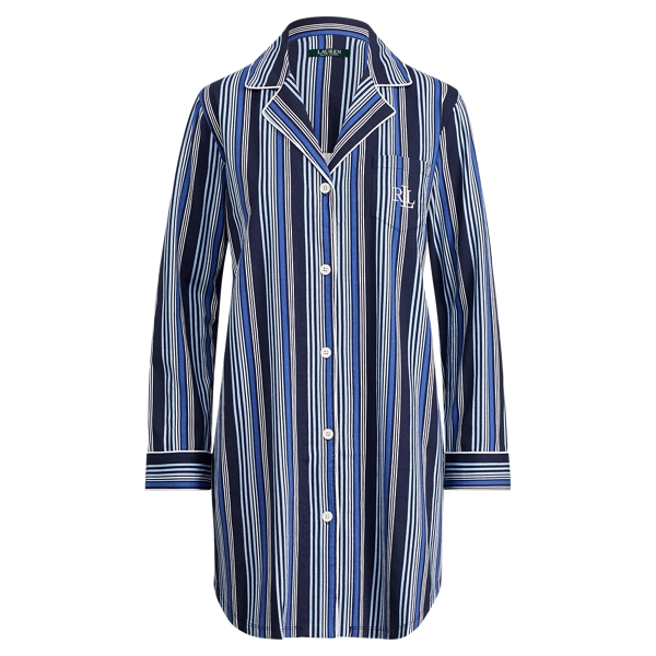 Ralph Lauren Striped Jersey Pajama Shirt Blue Stripe M