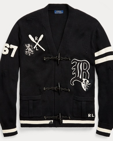 Distressed Letterman Cardigan