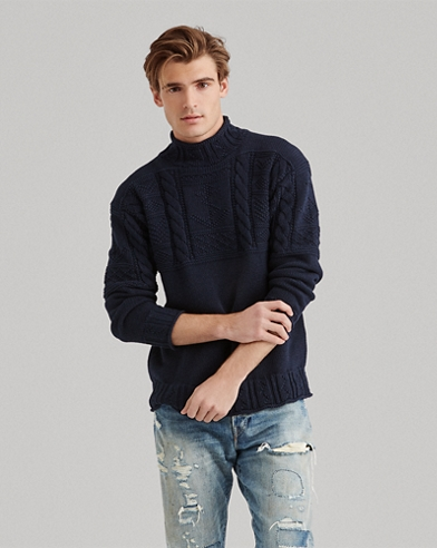 Aran-knitted Cotton Jumper