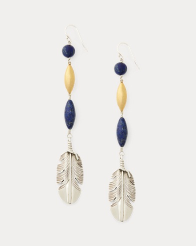 Beaded Feather Drop Earrings