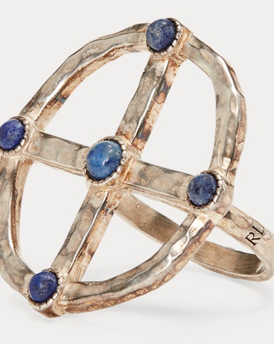 Lapis-Brass Compass Ring