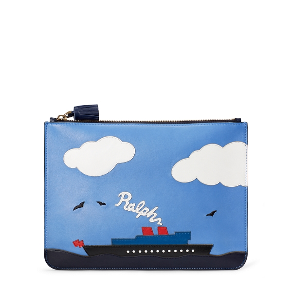 Ralph Lauren Steamboat Large Zip Pouch Blue Multi One Size