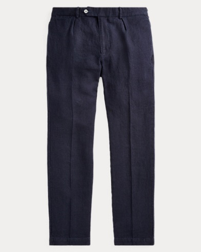 Slim Fit Pleated Linen Trouser