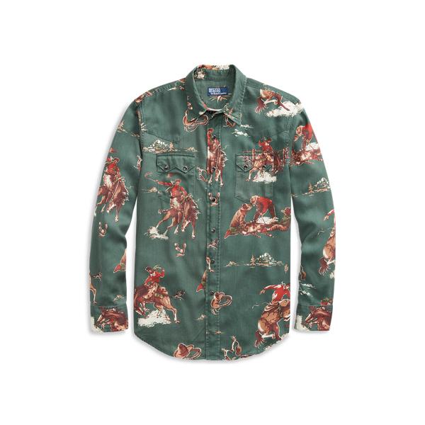 Ralph Lauren Classic Fit Western Shirt Green Multi S