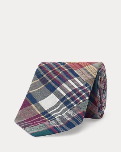 Cravate étroite en coton madras