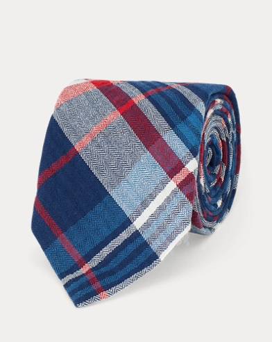 Cravatta sottile scozzese in cotone