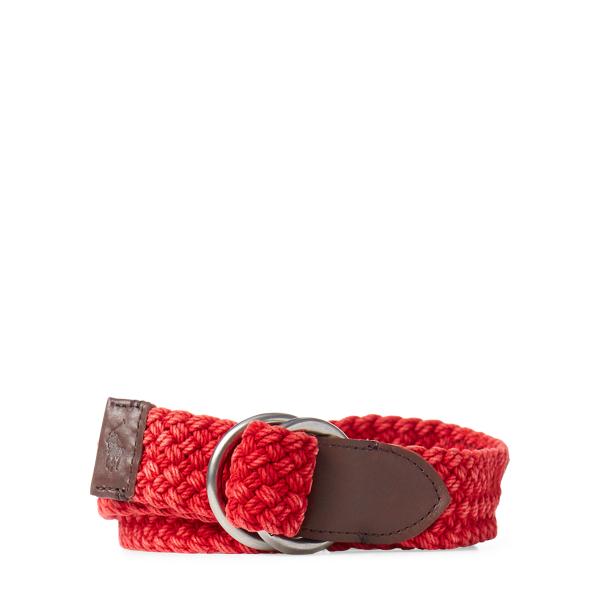 Ralph Lauren Braided Cotton O-Ring Belt Red S