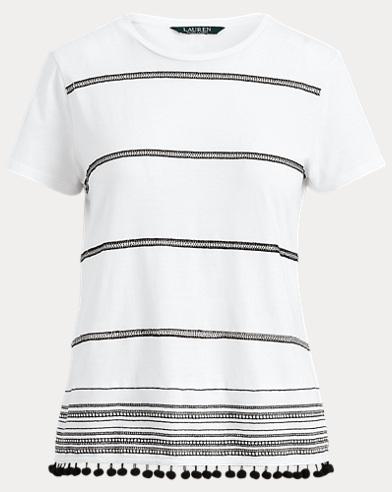 Pom-Pom-Trim Patterned Shirt