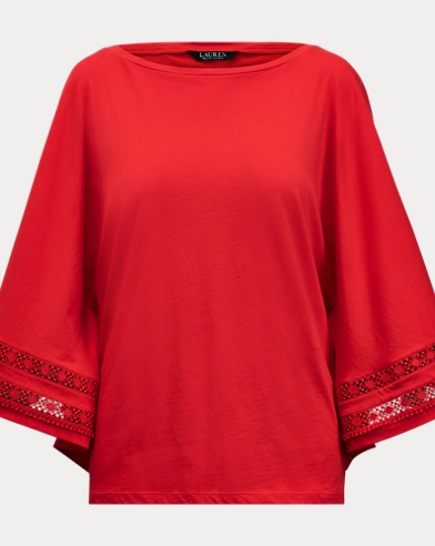 Lace-Trim Dolman Top
