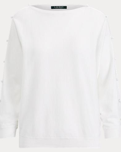 Button-Sleeve Cotton Top