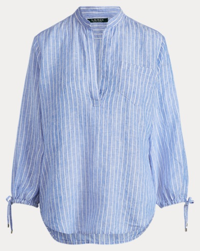 Band-Collar Linen Shirt