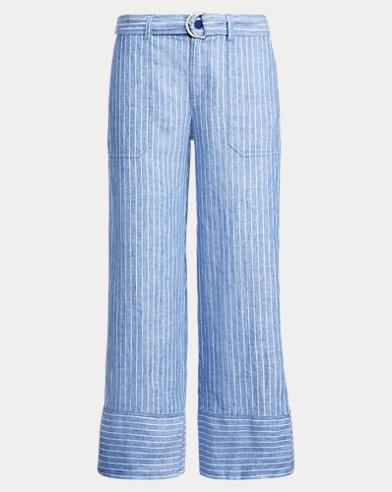 Pantaloni in lino a righe