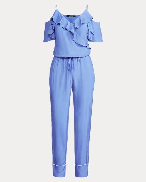 ff16e0df5b9 Lauren Twill Cold-Shoulder Jumpsuit 1