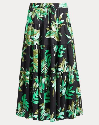 Fern-Print Poplin Midi Skirt