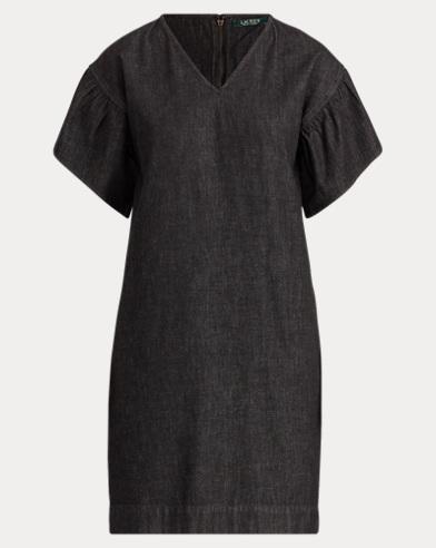Ruffle-Sleeve Denim Dress