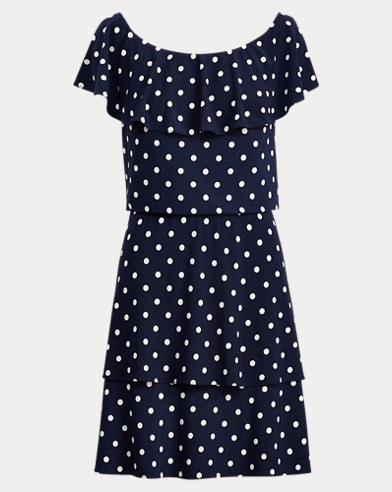 Polka-Dot Stretch Jersey Dress