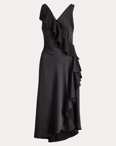 Ruffled Crepe Sleeveless Dress
