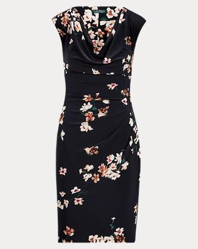Floral Jersey Cowlneck Dress