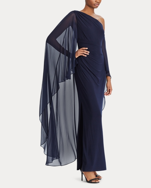 c59dc6ff3f85 Georgette Cape Gown